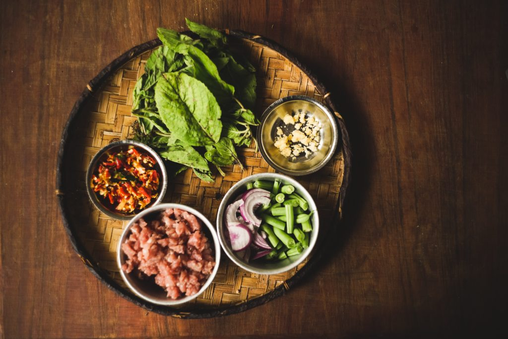 Ingredients for cooking Thai Basil Chicken Pad Krapao